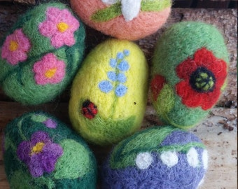 6 needle felted Easter eggs - 6 gefilzte Ostereier