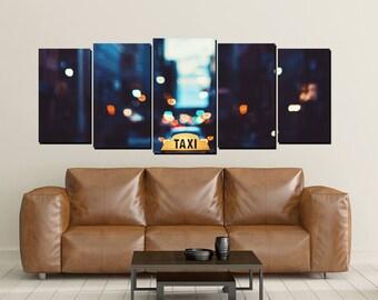 Taxi Canvas Wall Art, Large 5 Panel Print, Big City, Office Art