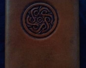 Celtic Leather Pocket Journal Circular Spiral Pattern