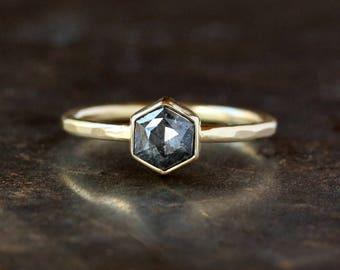 Hexagon Engagement Ring, Rose Cut Deep Gray Diamond, 18k Yellow Gold Band, Unique Engagement Ring, Hexagonal Diamond, Conflict Free