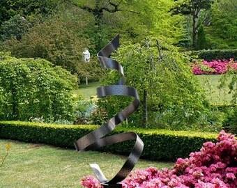 Modern Indoor-Outdoor Metal Art - Hand-Textured Abstract Yard Sculpture - Large Metallic Garden Decor - Rendition by Jon Allen