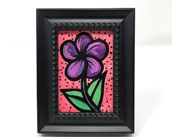 Purple and Pink Flower Painting - Bookshelf Art - Desk Painting for Her - Original Small Framed Art - Floral Desk Decor - Gift Under 25