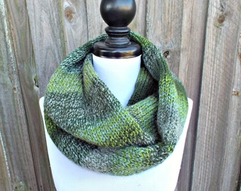 Double Knit Infinity Scarf Womens Knit Circle Scarf - Mixed Green Scarf - Chunky Scarf Womens Accessories Fall Fashion - READY TO SHIP