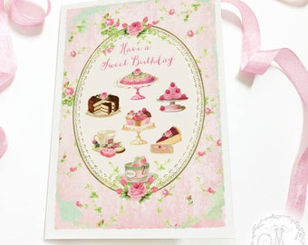 Birthday card, have a sweet birthday, cake card, bakery card, blank inside