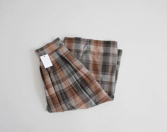 high waist plaid skirt | long plaid skirt | plaid midi skirt