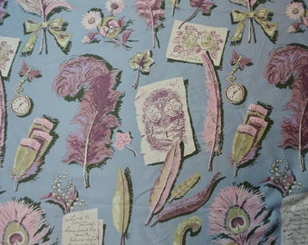 VINTAGE 1940s novelty fabric pink ostrich and peacock feathers floral handrwitten postcard cotton sateen