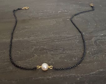 Single Pearl Necklace, Oxidized Silver, Sterling Silver Chain, Black Chain, Pearl Pendant, White Pearl, Freshwater Pearl, Cultured Pearl
