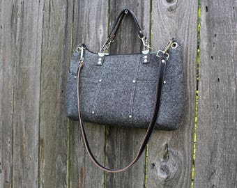 Purse /  Handbag / Shoulder Bag / Stylish / Handmade / Gray heathered Suiting / leather shoulder and hand straps / cross hatch interior