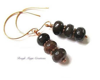 Dark Red Gemstone Jewel Earrings, Agate Stone Dangles, Copper Jewelry, Gift for Women, for Her, Present for Wife E395