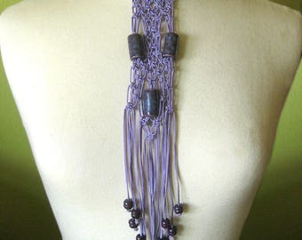 Vintage Macrame Necklace Beaded Boho Long Necklace / Purple Festival Jewelry / Hippie Style Fringe Necklace / Wire Choker / Collar Necklace