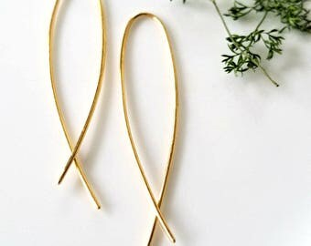Natural Brass Fish Hoop Earrings, Almond Hoop Earrings, Hammered Hoops, Minimalist Earrings, Modern Hoops, Gold Brass Hoops, Open Hoops