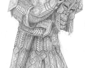 A KNIGHT OF AZAGHAL, Original Drawing