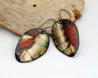Fall Leaves Red and Dark Gray Earrings, Autumn Enameled Copper Dangles, Vitreous Enamel Fall Leaves, Deluxe Original Gift, Ready to Mail