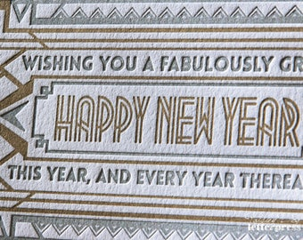 Letterpress Greeting Cards – Art Deco Inspired / New Year / Holiday / Great Gatsby / The Roaring Twenties / Gift  (Boxed Set of 6)