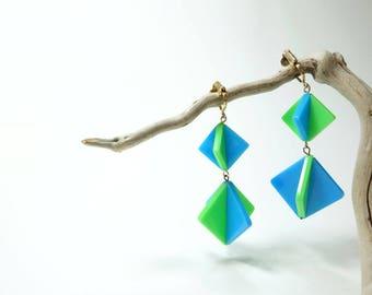 Vintage 60s Earrings Mod Earrings Statement Earrings Geometric Earrings Clip On Earrings Dangle Earrings Psychedelic Earrings Blue Green