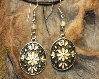 Natural Citrine Flower Shield Earrings