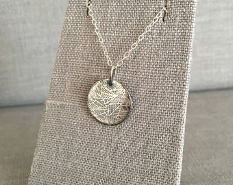 Etched Silver Necklace - Patina - Silver Disc Necklace - Modern Silver Pendant - OOAK - Leaf - Silver Circle Pendant - Leaves - Unique