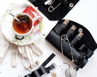 Leather Cuff ,  Tea Cuff , Mini Bottle Bracelet , Steampunk Jewelry , Steampunk , Wedding Gift , Travel Gifts , Gift for Him , Bracelet