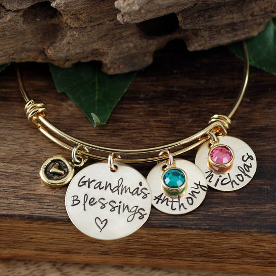 Gold Grandma Bracelet, Grandma's Blessings, Custom Bangle Bracelet, Personalized Gift, Grandmother Charm Bracelet, Personalized Bracelet