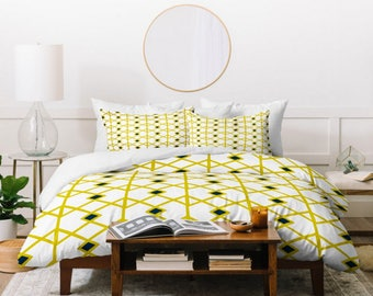 Geometric Duvet Cover // Twin, Queen, King Sizes // Home Decor // Midcentury Modern //  Bedding // Annika Diamond Yellow Design // Bedroom