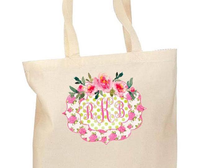 Bridesmaid Bags, Personalized Bridesmaid Gift, Watercolor Floral bag, Bride Tribe Matching Totebags, Canvas Totebag, Monogrammed cotton tote