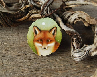 Fox - Hand Painted Wooden Pendant