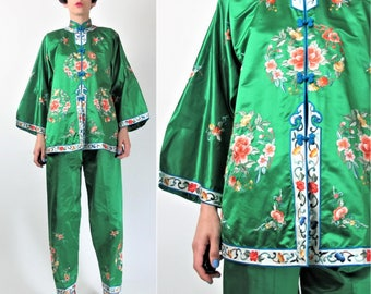 Chinese Silk Pajamas Floral Embroidered Asian Jacket and Pants Set Louge Wear Kelly Green Silk Mandarin Collar Chinese Wedding M/L E8089