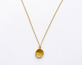 The Bigger Plate Charm.  18K Yellow Gold Unpolished Pendant. Unique Handmade Solid Gold Necklace. Recycled Gold Organic Textured Round Charm