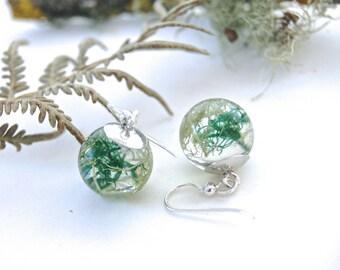 Forest Moss earrings. Lichen Earrings. Sterling Silver. Nature jewellery. Botanical earrings. Forest earrings. By OCEAN PETALS