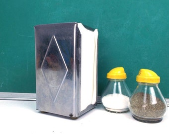 c. 1950's napkin dispenser / stainless steel / diner restaurant / metal napkin holder / napkin holder vintage / kitchen decor retro
