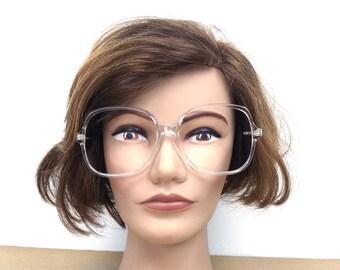 vintage 80s crystal clear oversize eyeglasses frame women men eyewear retro eye glasses usa optical regency inspiration lindsey big eyes 250