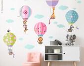 Air Balloons Wall Decal, Jungle Animals Wall Decal Sticker, Hot Air Balloons WallDecal Decor, Air Balloons Girls Nursery Room Decor Wall Art