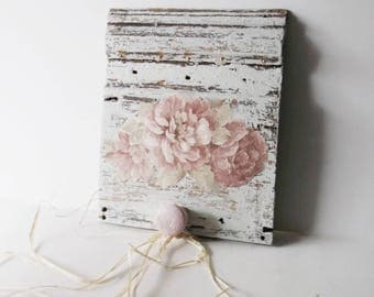 Chippy Shabby Distressed Wood Wall Hook. Architectural Salvage Art. Shabby Chic Pink Cabbage Roses. Wood Peg Hook. Cottage Chic Decor