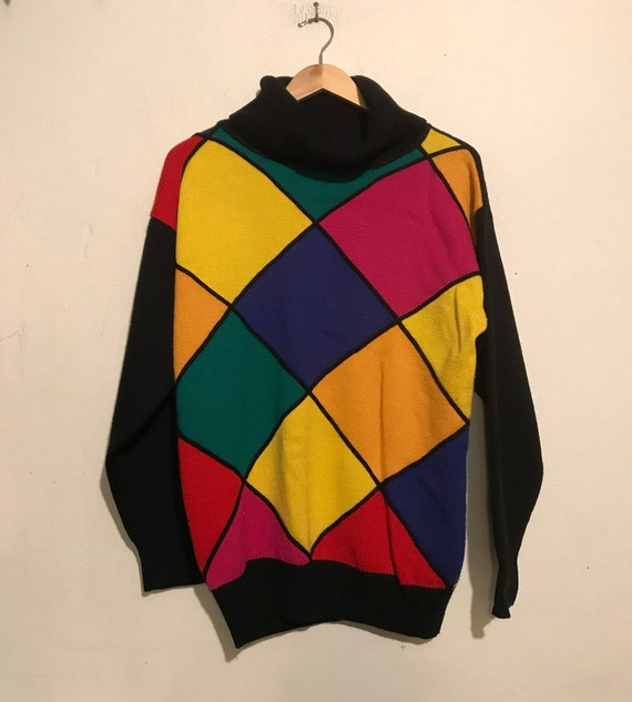 80s Colorful Diamonds Oversized Sweater