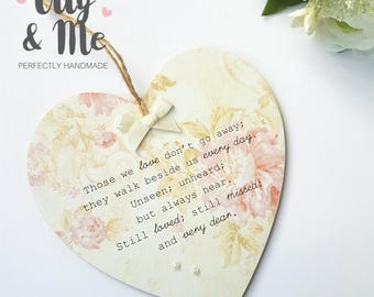 Handmade Wooden Bereavement Plaque/Sign Gift Hanging Heart Memorial/Remembrance