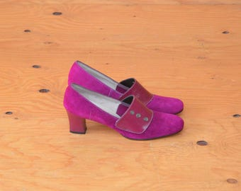 Vintage Fuchsia Purple Button 60's MOD Go-Go Suede Leather Heels SZ 7.5