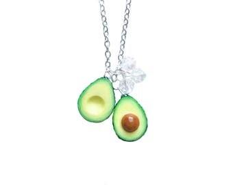 Avocado Necklace - Sliced Avocado with Crystals
