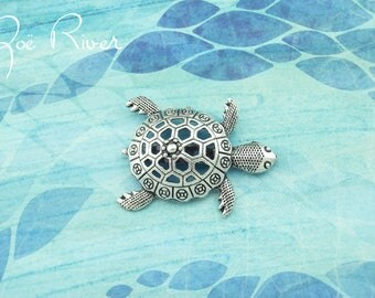 Silver turtle brooch. Silver turtle jewelry. Turtle pin. Turtle broach. Antiqued silver tortoise brooch.