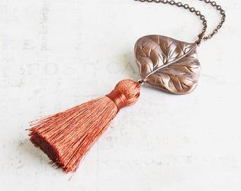 Antiqued Copper Leaf and Rusty Orange Tassel Necklace