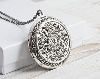 Large Antiqued Silver Plated Locket Pendant Necklace on Gunmetal Chain