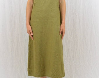 Vintage Green Linen Midi Dress, Oversized Jumper, Size XS-Small, Earthy, Hippie, Grunge, Mori Girl, Natural Kei, Lagenlook, Pockets