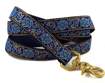 Ready-to-Ship: Sevilla Jacquard in Blue & Gold - 5' Dog Leash - Brass Trigger Snap