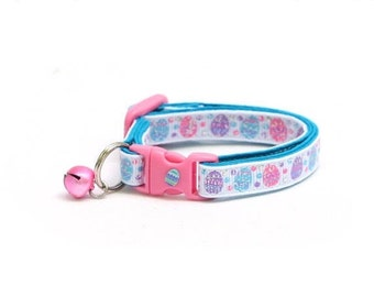 Easter Cat Collar - Blue, Pink, and Purple Easter Eggs - Kitten or Large Size