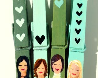 girl clothespins hand painted magnets green and aqua blonde brunette