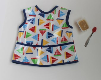 READY TO SHIP 2/3 Waterproof Toddler Art Smock Waterproof Toddler Bib with Primary Sailboats