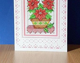 Poinsettia 'in a bowl' ~ Christmas Card in Cross Stitch