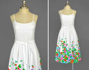 Vintage 60s Dress • Malia Dress • Floral Sundress • White Floral Dress • Luau Tiki Hawaiian Dress • Fit and Flare Cotton Dress • 1960s Dress