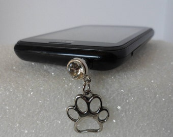 Paw Print! Tibetan Silver Paw Charm! Silver Acrylic Anti-Dust Plug! Adorable Cell Phone Bling! Swarovski Flat Back Crystal! Ships Free Sale!