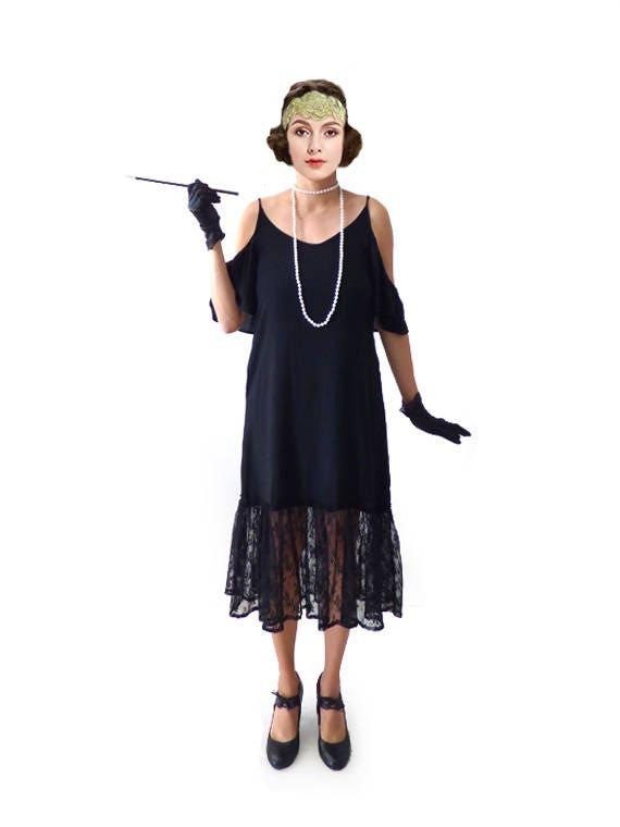 robe charleston noire dentelle ann e 20 ann e vingt folles. Black Bedroom Furniture Sets. Home Design Ideas