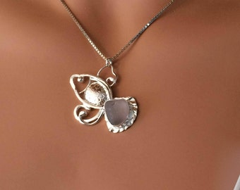 FISH Sea Glass Necklace  Nautical Beach Argentium Silver (935) Wearable Art Jewelry Custom Order